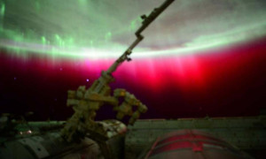 A photo of a red aurora around the Earth, as tweeted by the astronaut Scott Kelly from the International Space Station on 22nd June, 2015. Photograph: @stationcdrkelly/Twitter